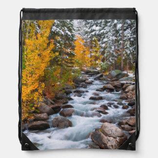Fall along Bishop creek, California Drawstring Bag
