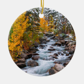 Fall along Bishop creek, California Round Ceramic Decoration