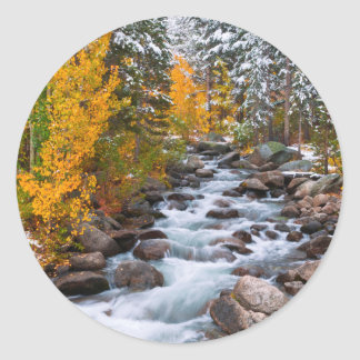 Fall along Bishop creek, California Round Sticker