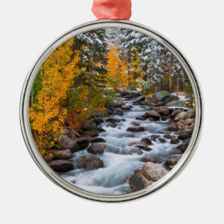 Fall along Bishop creek, California Silver-Colored Round Decoration
