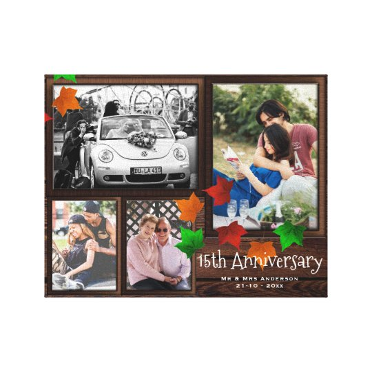 Fall ANNIVERSARY Photo Collage Rustic ADD YEARS Canvas