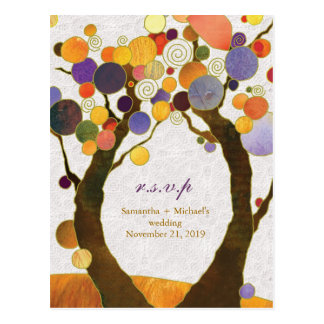 Fall Art Deco Love Trees Wedding RSVP Postcard