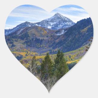 Fall At Cascade Peak And Sundance From Alpine Loop Heart Sticker