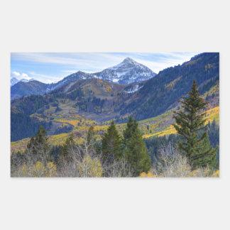Fall At Cascade Peak And Sundance From Alpine Loop Rectangular Sticker