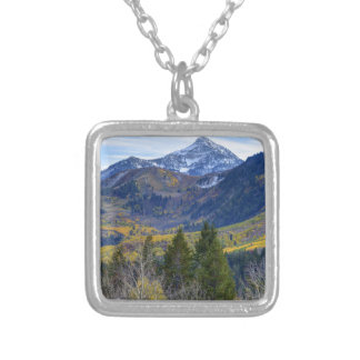 Fall At Cascade Peak And Sundance From Alpine Loop Square Pendant Necklace