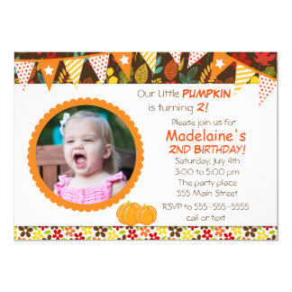 Fall Autum Leaves Kids Birthday Party Invitation