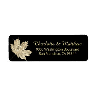 Fall Autumn Black Gold Leaf Wedding Return Address Return Address Label