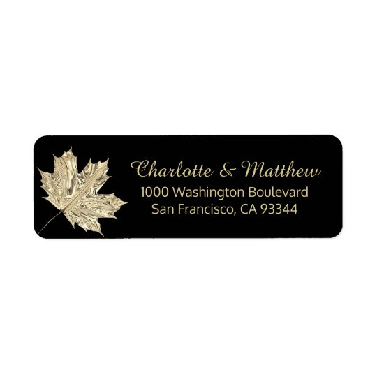 Fall Autumn Black Gold Leaf Wedding Return Address Return Address Label