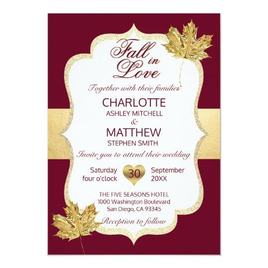 Fall Autumn Burgundy Gold FALL IN LOVE Wedding