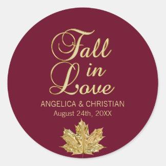 Fall Autumn Burgundy Gold FALL IN LOVE Wedding Classic Round Sticker