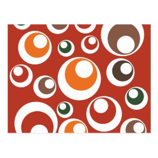 Fall Autumn Earth Tones Circles Dots Pattern Postcard