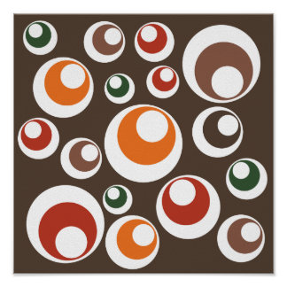 Fall Autumn Earth Tones Circles Dots Pattern Poster