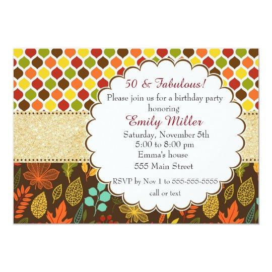 Fall Autumn Glitter Adult Birthday Invitation