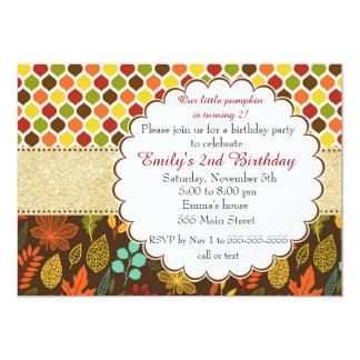 Fall Autumn Glitter Kids Birthday Invitation