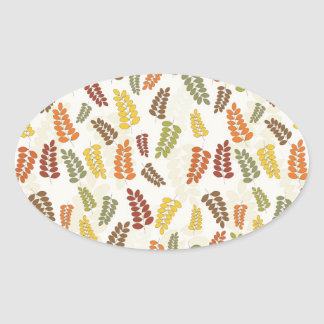 Fall Autumn Harvest Branches Leaves Twigs Pattern Oval Sticker