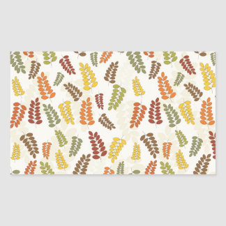 Fall Autumn Harvest Branches Leaves Twigs Pattern Rectangle Sticker