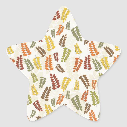 Fall Autumn Harvest Branches Leaves Twigs Pattern Star Sticker