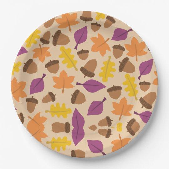 Fall Autumn Leaf & Acorn Print Paper Plates