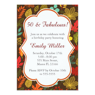 Fall Autumn Leaves Adult Birthday Invitation