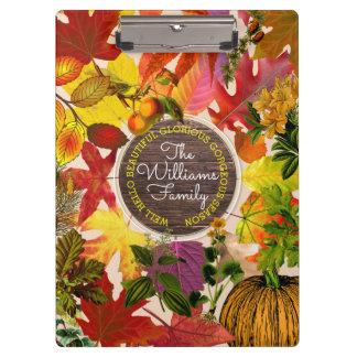 Fall Autumn Leaves Collage Monogram Vintage Wood Clipboard