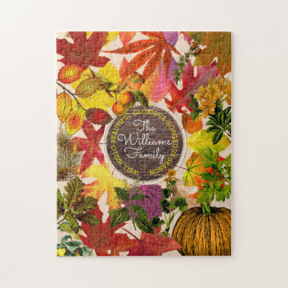 Fall Autumn Leaves Collage Monogram Vintage Wood Jigsaw Puzzle