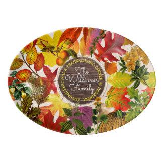 Fall Autumn Leaves Collage Monogram Vintage Wood Porcelain Serving Platter