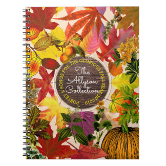 Fall Autumn Leaves Collage Monogram Vintage Wood Spiral Notebook