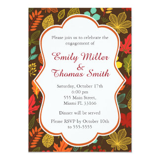 Fall Autumn Leaves Engagement Party Invitation