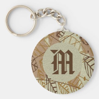 Fall Autumn Leaves Flower Floral Brown Tan Pattern Key Ring