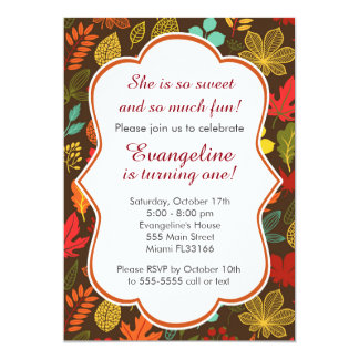 Fall Autumn Leaves Girl Birthday Party Invitation