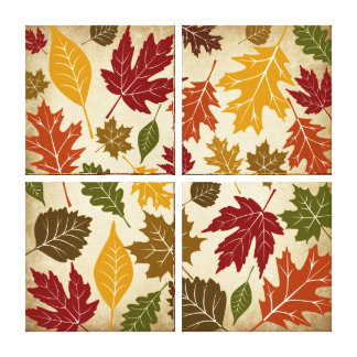Fall Autumn Leaves Quad Wrapped Canvas Wall Art Gallery Wrapped Canvas