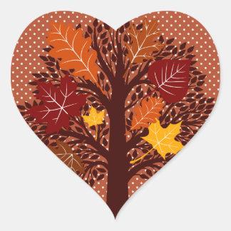 Fall Autumn Leaves Tree November Harvest Heart Sticker