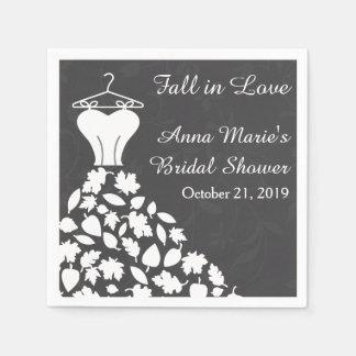 Fall Autumn Leaves Wedding Dress Bridal Shower Disposable Napkin