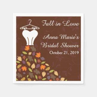 Fall Autumn Leaves Wedding Dress Bridal Shower Paper Serviettes