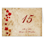 fall autumn  leaves  wedding table seating card