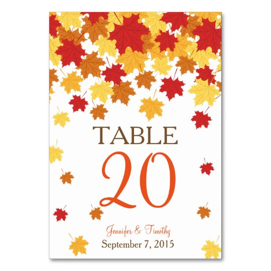 Fall Autumn Maple Leaf Wedding Table Card