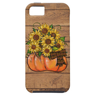 Fall Autumn Pumpkin with Sunflowers iPhone 5 Cases