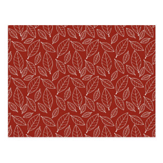 Fall Autumn Red Leaf Leaves Pattern Postcards