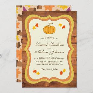 Fall Autumn Rustic Barn Wood Pumpkin Wedding Invitation