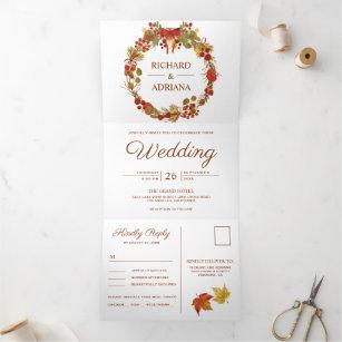 Fall Autumn Rustic Country Leaves Wreath Wedding Tri-Fold Invitation