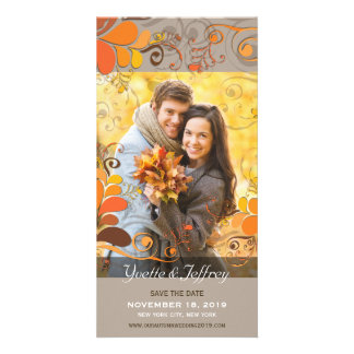 Fall Autumn Rustic Floral Leaves Save The Date Photo Card Template