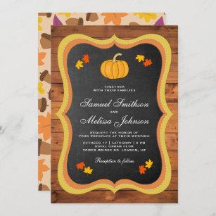 Fall Autumn Rustic Wood Chalkboard Pumpkin Wedding Invitation