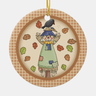 Fall / Autumn Scarecrow on Plaid with Photo Holder Christmas Ornament