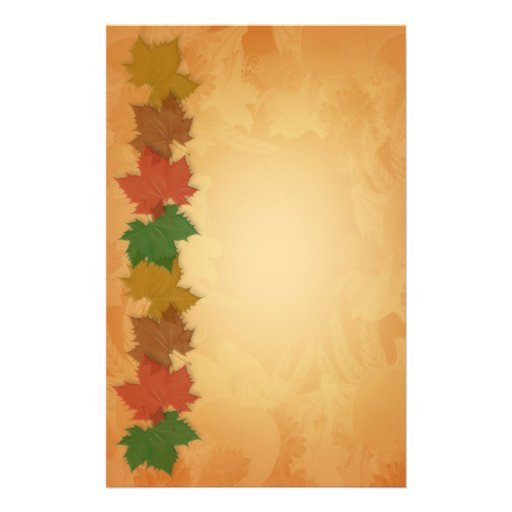 Fall Autumn Stationery with leaves