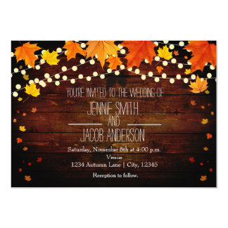 Fall Autumn String Lights Wood Wedding Invitation