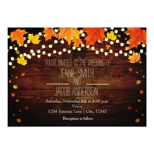 Fall Autumn String Lights Wood Wedding Invitation