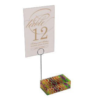 FALL AUTUMN STRIPES TABLE NUMBER HOLDER