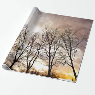 Fall autumn trees at sunset wrapping paper