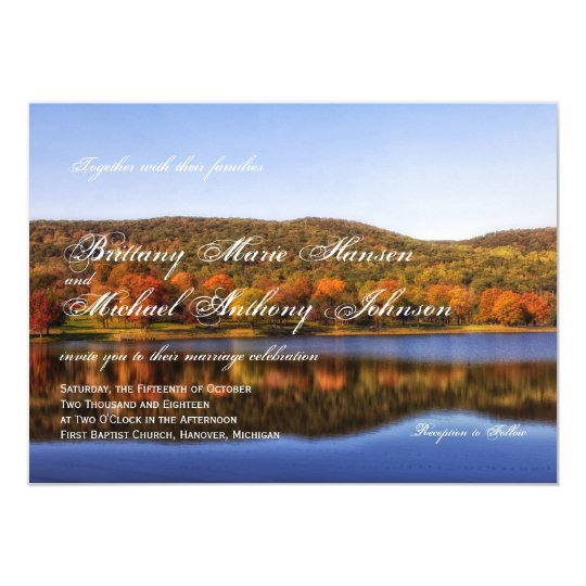 Fall Autumn Trees Lake Country Wedding Invitations