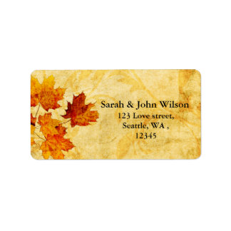 fall autumn  wedding leaves return address label